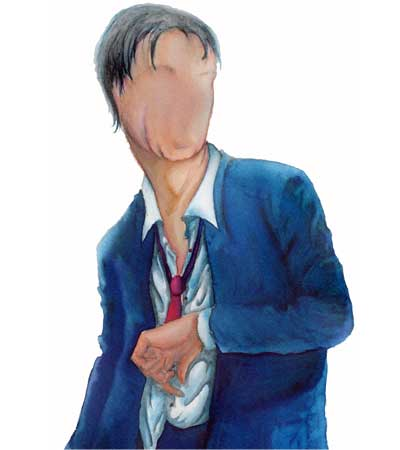 Illustration of a man with no features, created for a CD cover.