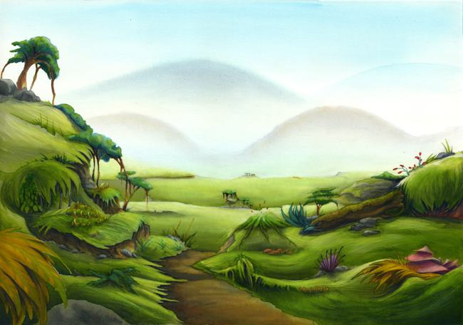 Alien landscape illustration.