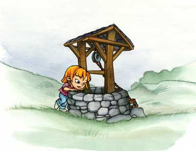 Wishing well illustration.